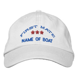 FIRST MATE and BOAT NAME Custom WHITE RED BLUE Embroidered Baseball Caps
