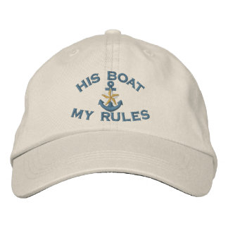 First Mate His Boat My Rules White Star Anchor Embroidered Cap