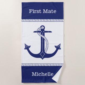 First Mate Nautical Anchor Add Name Beach Towel