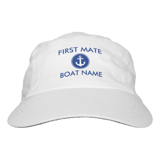 First Mate Nautical Anchor Your Boat Name Hat