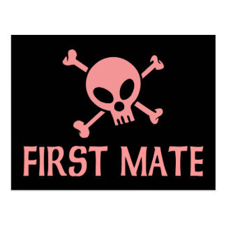 First Mate Pink Skull Post Cards