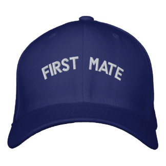 First mate text embroidered cap