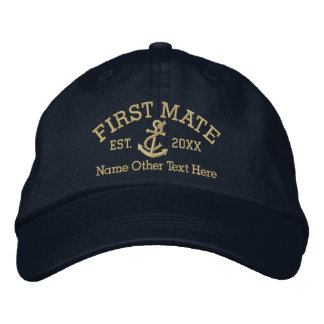 First Mate With Anchor Personalized Embroidered Cap