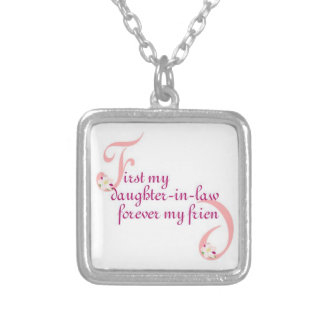First My Daughter-in-law© Forever My Friend Square Pendant Necklace