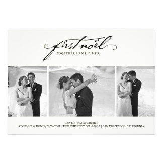 First Noel As Mr. & Mrs. Holiday Photo Greetings Custom Announcement