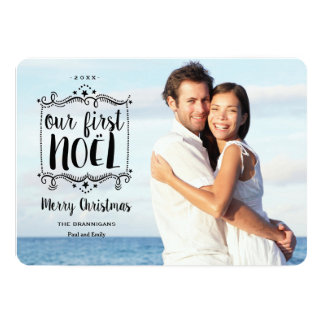 First Noel Merry Christmas Holiday Photo Card 13 Cm X 18 Cm Invitation Card