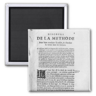 First page of 'Discours de la Methode' by Rene Square Magnet