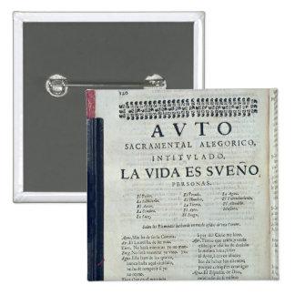 First page of 'La Vida es Sueno' 15 Cm Square Badge