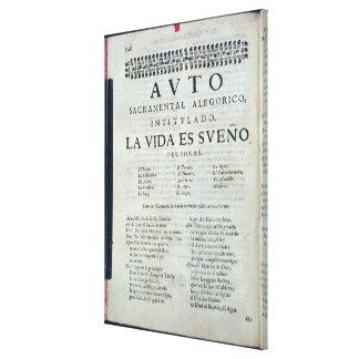 First page of 'La Vida es Sueno' Canvas Print