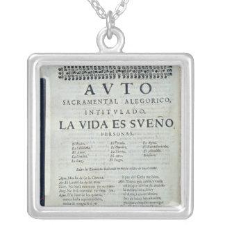 First page of 'La Vida es Sueno' Silver Plated Necklace