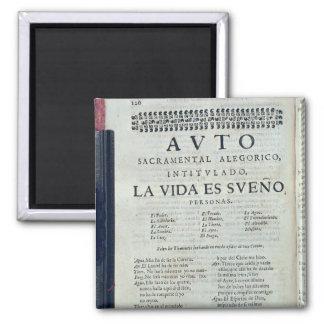 First page of 'La Vida es Sueno' Square Magnet