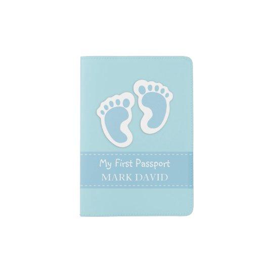 First Passport Baby Boy Footprints Blue Custom Passport