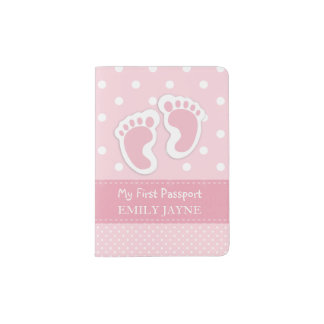 First Passport Baby Girl Footprints Pink Custom Passport Holder