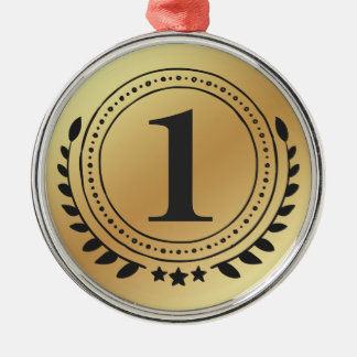 First Place Honor Gold Medal With Gold Gradient Christmas Ornament