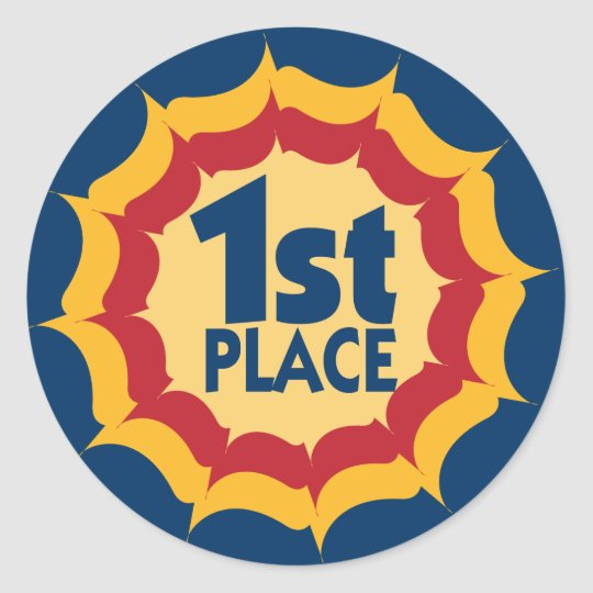 First Place Ribbon Winner Classic Round Sticker