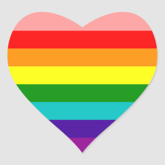 First Rainbow Gay Pride Flag Heart Stickers