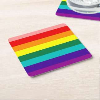 First Rainbow Pride Flag Square Paper Coaster