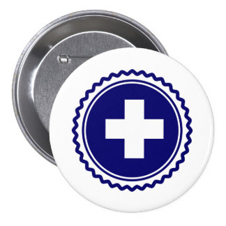 First Responder Blue Health Care Cross 7.5 Cm Round Badge