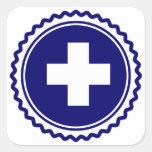 First Responder Blue Health Care Cross Square Sticker