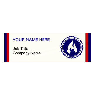 First Responder Firefighter Blue Flame Badge Pack Of Skinny Business Cards