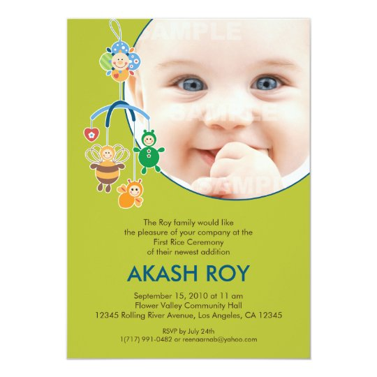 First Rice Ceremony Baby Mobile Invitation