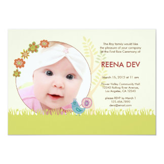 First Rice Ceremony Floral Garden Invitation