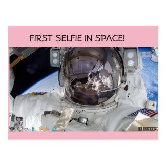 First selfie in space! postcard