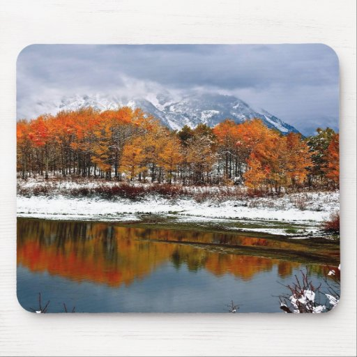 FIRST SNOW AT OXBOW BEND IN GRAND TETON MOUSEPADS