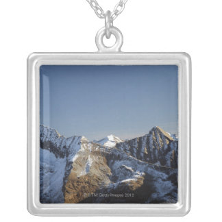 First snow on the mountains silver plated necklace