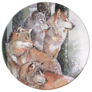 First Snow. Wolf Pack. Red Wolves. Plate