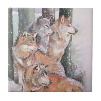 First Snow. Wolf Pack. Red Wolves. Tile