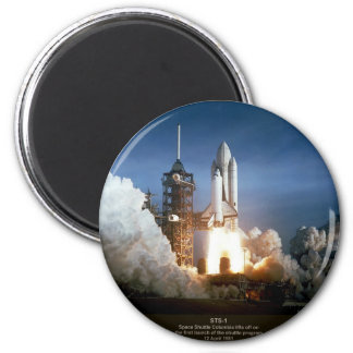 First Space Shuttle launch STS-1 Columbia 6 Cm Round Magnet