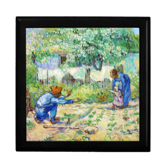First Steps (after Millet) Vincent van Gogh art Large Square Gift Box