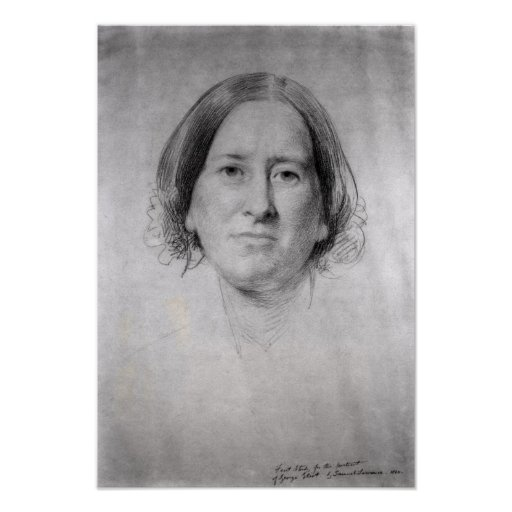 First Study for the Portrait of George Eliot Posters