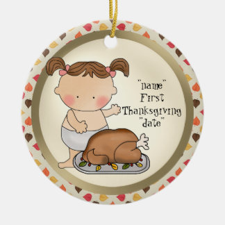 First Thanksgiving Holiday baby girl ornament