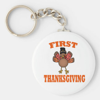 First Thanksgiving Basic Round Button Key Ring