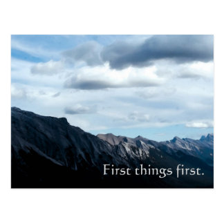 First Things First - recovery slogan postcard