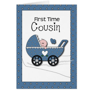 First Time Cousin Boy Stroller Card