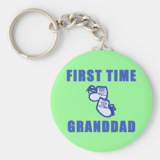 First Time Granddad Tshirts and Gifts Basic Round Button Key Ring