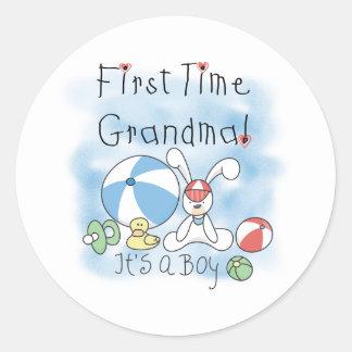 First Time Grandma Baby Boy Classic Round Sticker