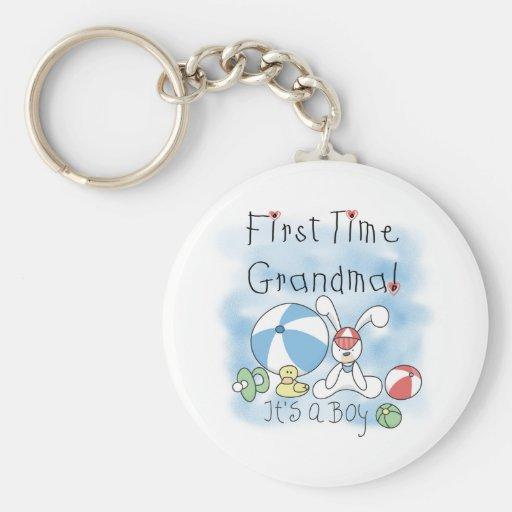 First Time Grandma Baby Boy Key Chains