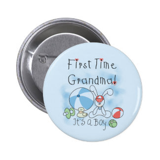 First Time Grandma of Boy Tshirts and Gifts Pinback Button