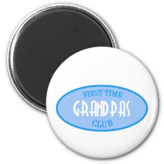 First Time Grandpas Club (Blue) 6 Cm Round Magnet