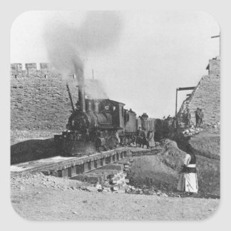 First train passing through the wall of Peking, Ch Square Sticker