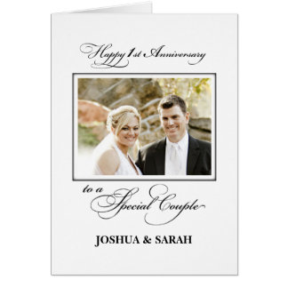 First Wedding Anniversary Custom Name and Photo Card