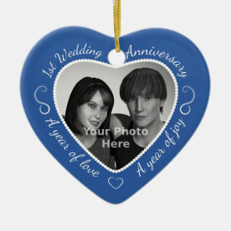 First Wedding Anniversary Photo Christmas Ornament