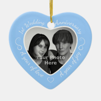 First Wedding Anniversary Photo: Light Blue Christmas Ornament