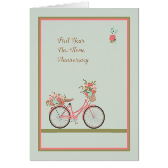 First Year New Home Anniversary Card with Bicycle