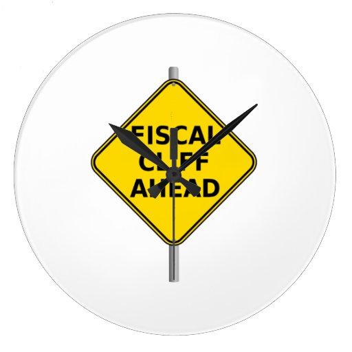 Fiscal Cliff Ahead Sign Wallclocks