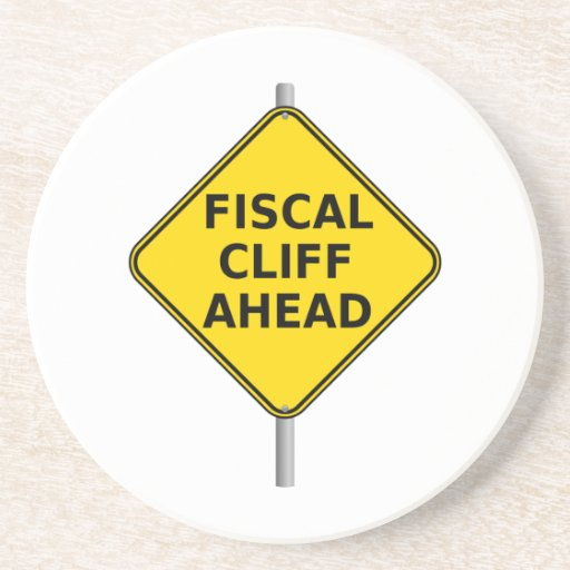 Fiscal Cliff Ahead Sign Beverage Coasters